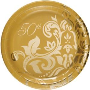 50th wedding anniversary paper plates